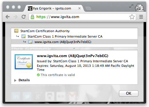 Figure 4-6. Certificate chain of trust for igvita.com (Google Chrome, v25)