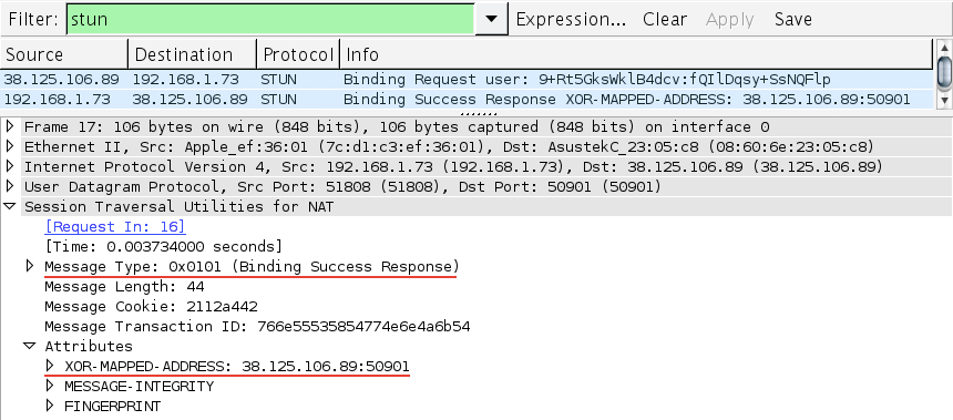 Figure 18-8. WireShark capture of a peer-to-peer STUN binding request and response